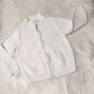 Lands' End White Zip Front Sweater Size M (5-6)